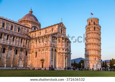 Pisa cathedral in a summer evening in Italy - stock photo