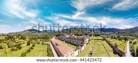 Pisa Charterhouse (Certosa di Pisa), is a former Carthusian monastery, located in the comune of Calci, some 10 km outside Pisa, Tuscany, Italy. - stock photo