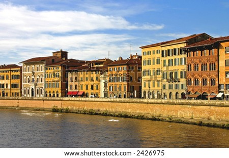 Pisa City setting - Buildings on the Arno river