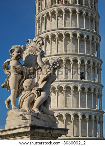 PISA, Italy - August 22, 2014: Leaning Tower in Pisa