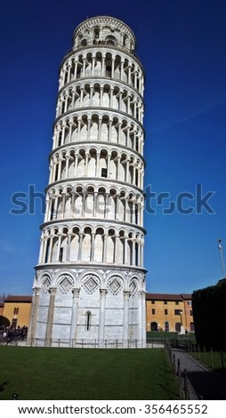 PISA, ITALY - DECEMBER 26, 2015: Leaning Tower (bell tower) of Pisa, Italy, in Piazza Dei Miracoli.
