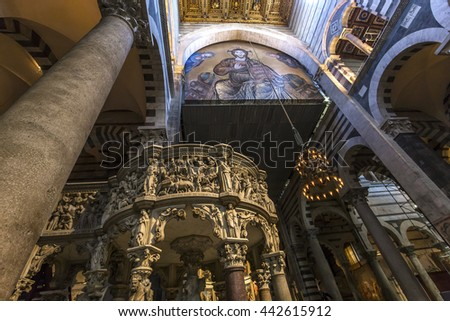 PISA, ITALY, JUNE 06, 2016 : interiors and architectural details of Pisa cathedral, june 06, 2016 in Pisa, Italy