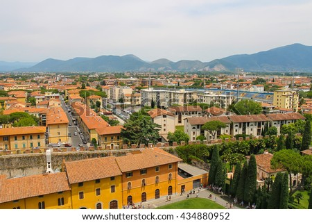 Pisa, Italy - June 29, 2015: View of the old city from the Leaning Tower. Province Pisa, Tuscany region of Italy