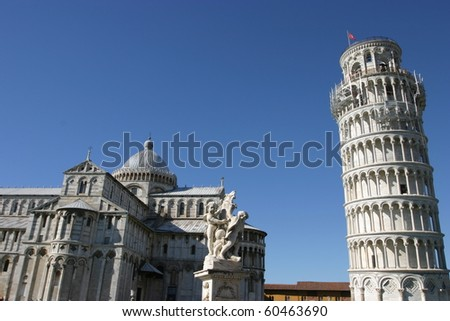 Pisa, Italy, wide angle view of Piazza dei Miracoli with the Leaning Tower - stock photo