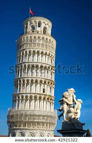 Pisa, Piazza dei miracoli,  the leaning tower. Shot with polarizer filter.