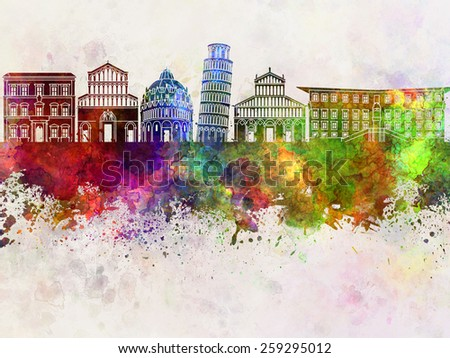 Pisa skyline in watercolor background - stock photo