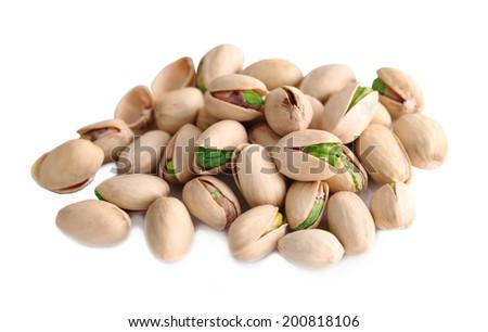 Pistachio nut on white background  - stock photo