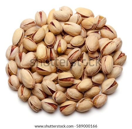 Pistachio nuts, isolated on the white background, clipping path included.