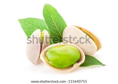 Pistachio nuts, isolated on white background