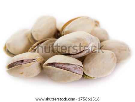 pistachios isolated on white background - stock photo
