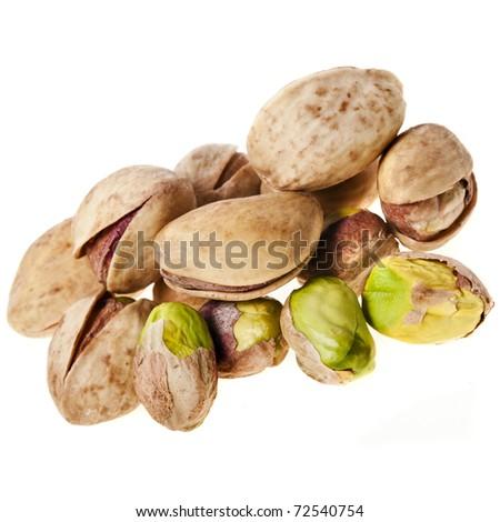 pistachios on a white - stock photo