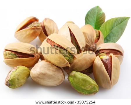 Pistachios on a white background - stock photo