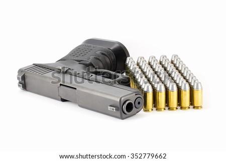 Pistol hand gun isolated on white background  - stock photo