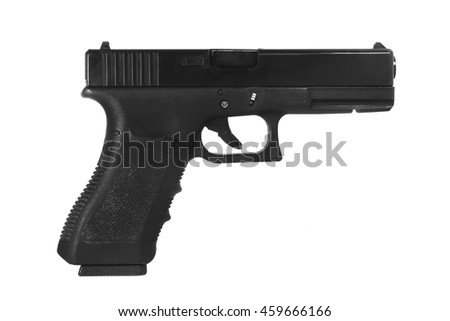 Pistol handgun weapon isolated on white background