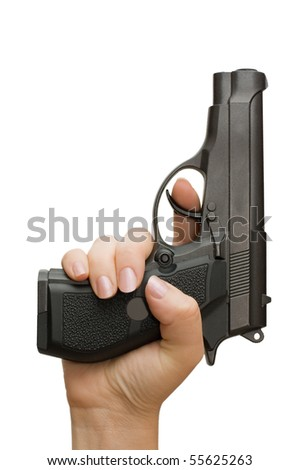 Pistol in a female hand isolated on white - stock photo