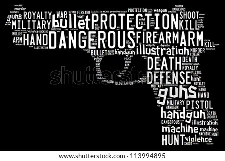 Pistol info-text graphics composed in pistol shape concept on black background