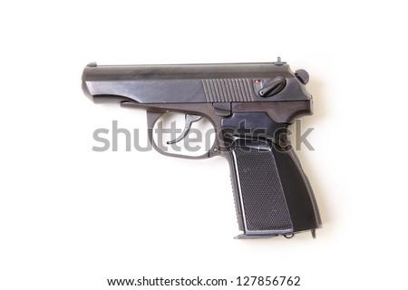 Pistol isolated on a white background. Makarov pistol - stock photo