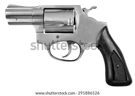 Pistol Revolver Firearm Gun Isolated On White Background - stock photo