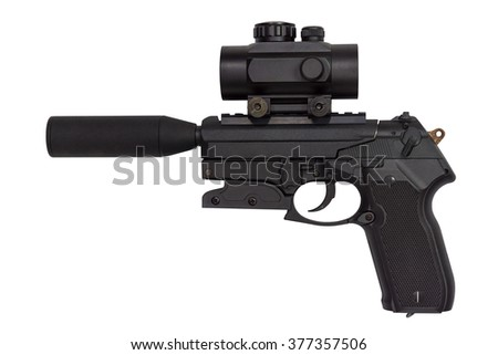 pistol with a silencer isolated on white background - stock photo