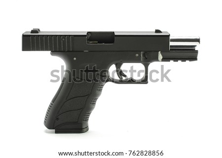 pistol with open slide isolated on white