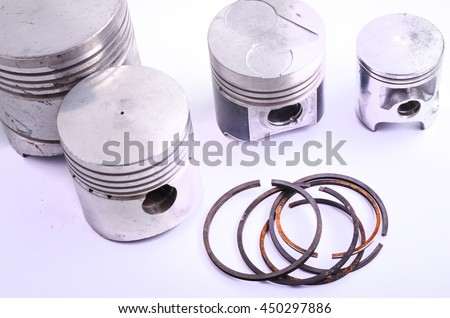 piston and set of ring used as repairing kit in automotive engines  - stock photo