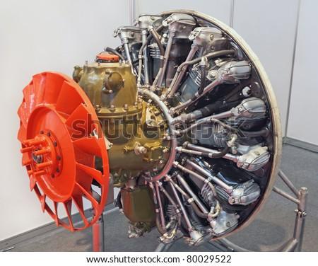 Piston engine aircraft, the modern model, close up - stock photo