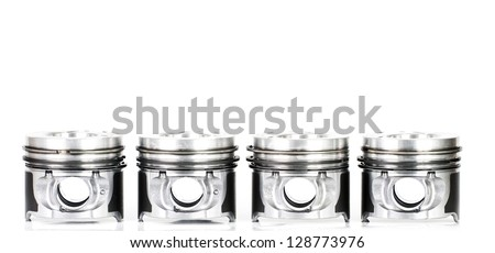 Pistons isolated on white - stock photo