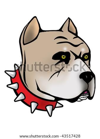 Pit bull Illustration with Illustrator file - stock photo