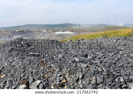 Pit mining in summer, Karagaysky careers mining magnesite - stock photo