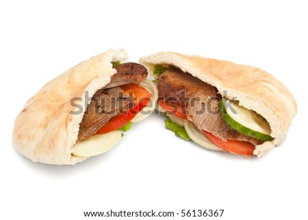 pita bread sandwich with meat and vegetables