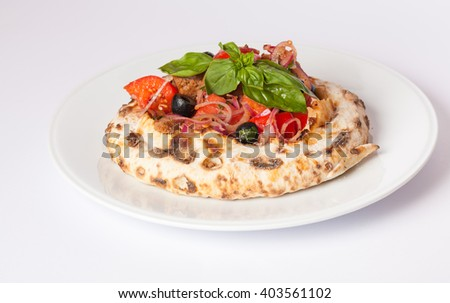 pita with vegetables - stock photo