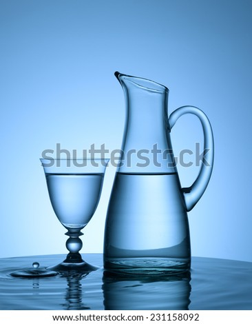 pitcher and glass of water droplet splashing