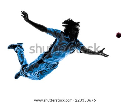 pitcher Cricket player in silhouette shadow on white background - stock photo