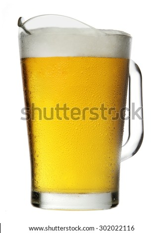 Pitcher of Beer with Foam isolated on white background - stock photo