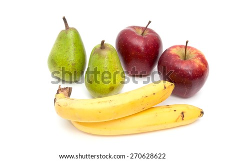 Pitcher of juice. Pears, apples and bananas. On a white background - stock photo