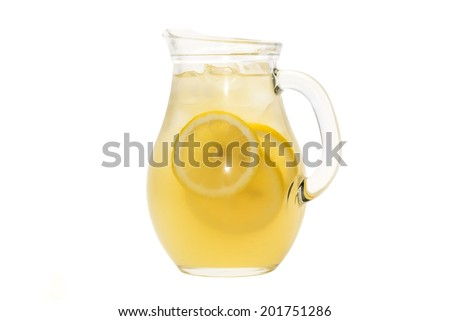 pitcher of lemonade on a white background - stock photo