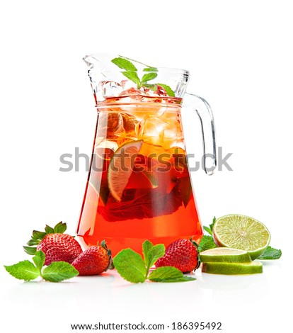 pitcher with a refreshing strawberry mojito with fresh mint and strawberries on a white background  - stock photo