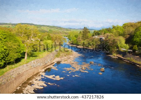 Pitlochry Scotland UK view of River Tummel in Perth and Kinross illustration like oil painting