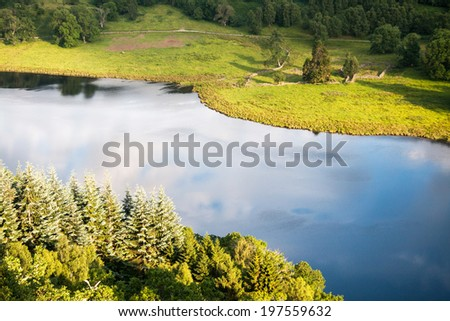 Pitlochry,  View from Queens View on Loch Tummel, Scotland,  United Kingdom - stock photo
