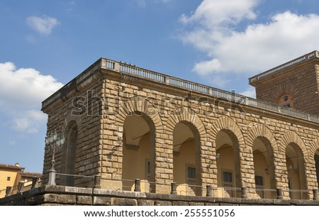 Pitti palace fragment in Florence, Italy - stock photo