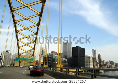 PITTSBURGH - FEB 11: Alcoa's massive layoffs are clouding the economic prospects of Pittsburgh, Pennsylvania, seen from Fort Pitt bridge on February 11, 2009. - stock photo