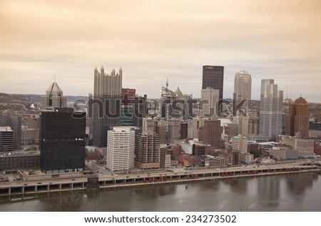 "PITTSBURGH - NOVEMBER 8, 2014: The Pittsburgh city skyline as seen from Grandview Avenue on November 8, 2014. Pittsburgh is known as  ""the City of Bridges"" for its 446 bridges."