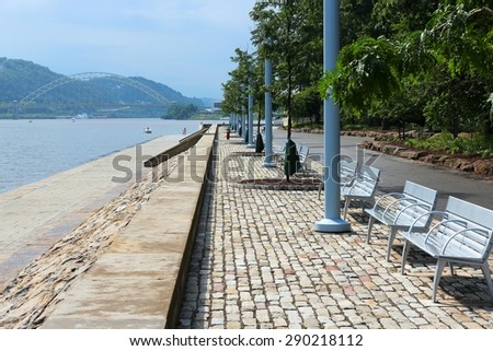 Pittsburgh, Pennsylvania - city in the United States. Monongahela River benches of Point State Park. - stock photo