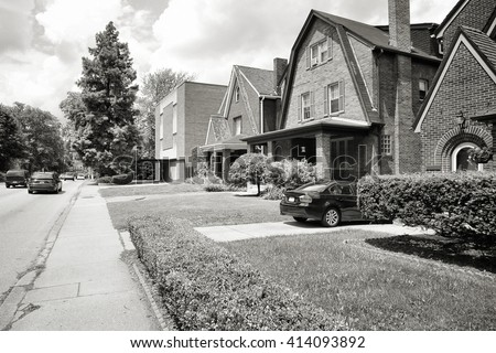Pittsburgh, Pennsylvania - city in the United States. Shadyside district residential neighborhood. Black and white vintage style. - stock photo