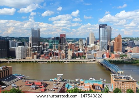 Pittsburgh, Pennsylvania - city in the United States. Skyline with Monongahela River.