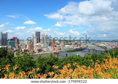 Pittsburgh, Pennsylvania - city in the United States. Skyline with Monongahela River. - stock photo