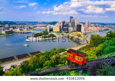 Pittsburgh, Pennsylvania, USA downtown skyline and incline. - stock photo