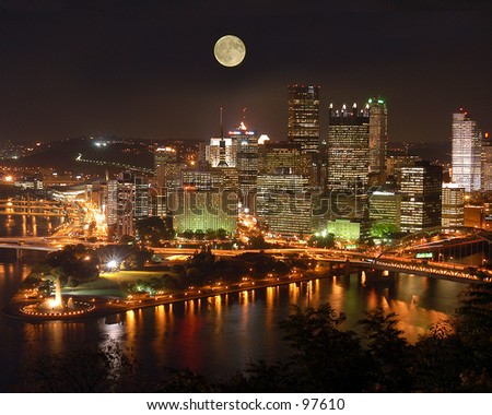 Pittsburgh's skyline as viewed from Mount Washington. [Best for web use] - stock photo