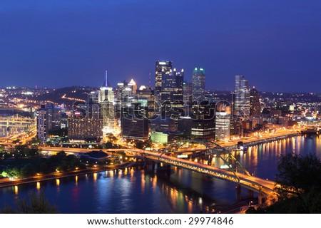 Pittsburgh's skyline from Mount Washington at night - stock photo