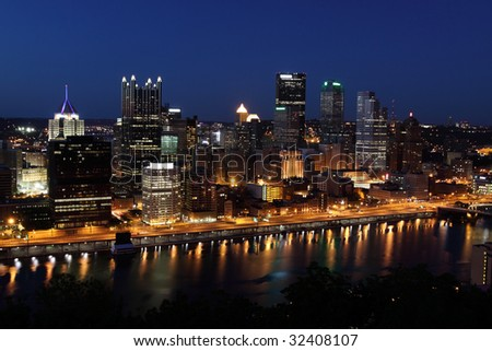 Pittsburgh's skyline from Mount Washington at night